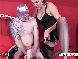 horny marionette gasping and boning femdoms gigantic strapon man-meat