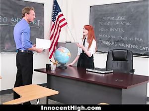 InnocentHigh - nice ginger-haired college girl plows Drama instructor