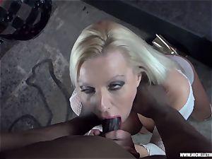 filthy blondie honey sucks orb masturbates penetrates ample black fuckpole