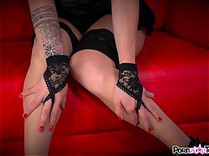 observe Maia Davis undress down to flash off her pinkish snatch