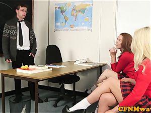 super-naughty CFNM schoolgirls stroking uncut penis
