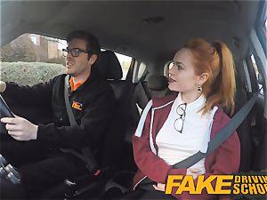 fake Driving college cute redhead Ella Hughes plows