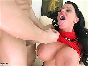 huge-chested Kerry Louise gets her funbags decorated with jizz