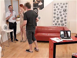 unveiled casting - redhead Eva Berger pumping out casting
