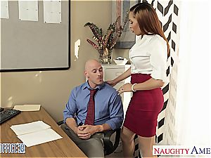 Stockinged honey Serena Ali pound in the office