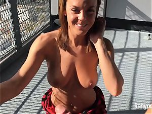 Rahyndee James dark haired honey blowage arched Over Balcony