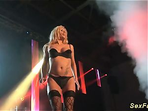 German buxom cougar on public stage