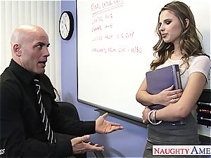 slender Jillian Janson insane for her teacher's jizz-shotgun
