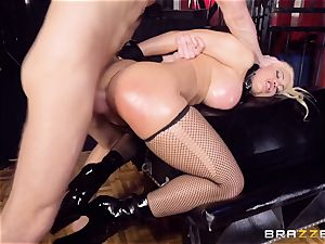 encaged greased up honey Luna starlet hammered nut deep in the booty