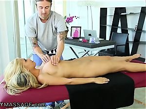 FantasyMassage huge-chested babe orders massage In Office
