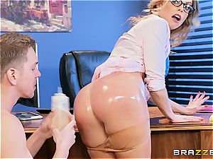 Britney Amber takes trunk at work