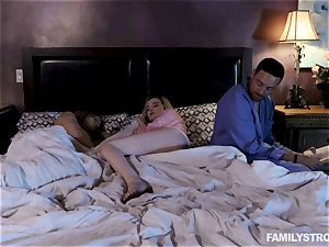 Krissy Lynn hammered by her draped stepparent next to her mummy