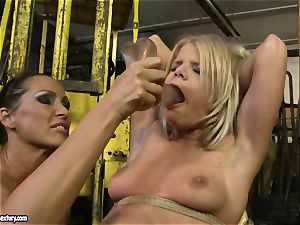 Mandy Bright dildoing a lusty stunner on tabouret