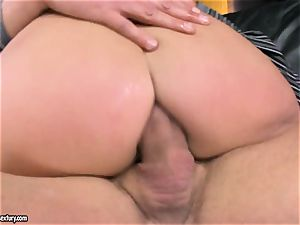 Lexy lil' gets 2 muscled fuck-sticks clogged in her cock-squeezing fuckholes making her yell