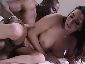 lucky Karlee's wooly vulva gets the fattest ebony man meat around