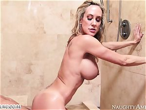 buxomy cougar Brandi enjoy with meaty knockers tempts her stepson in the bathroom