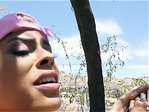 huge-boobed Luna star pounded outdoors on a tree