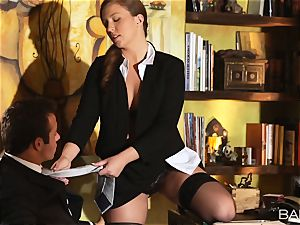 Maddy OReilly is romped over the desk by the chief