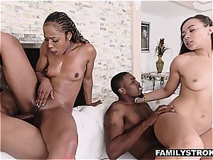 black cunt pounding with perverted uncle and auntie