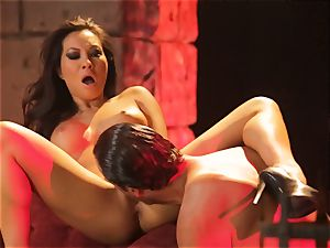 Asa Akira gets her super-steamy lips round a large long pink cigar