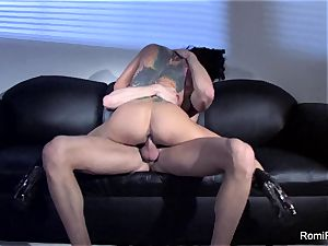 uber-sexy Romi Rain teases and then gets plumbed stiff