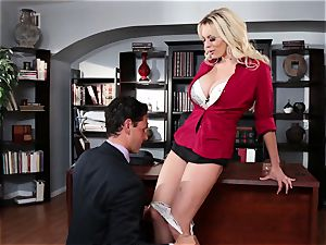 Stormy Daniels dicked via an office desk
