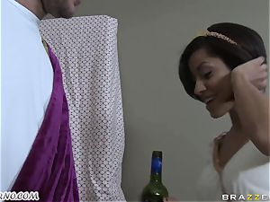 tipsy Greek sweetie takes chisel of her new bf