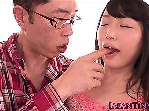diminutive chinese opens her mouth for a hot explosion