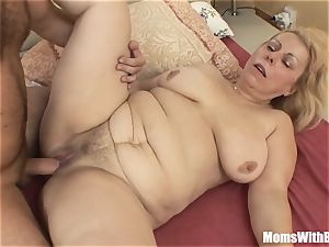 Saggy boobed blond Mature Stepmom rectal boned