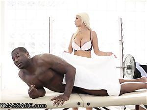 sensuous Bridgette handles furious big black cock pecker for Job!