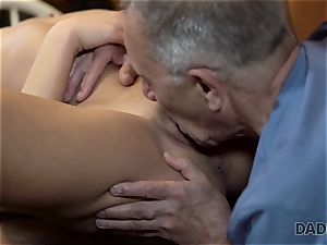 DADDY4K. Angry dude catches elder dad fucking his good-looking gal