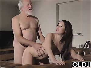 nubile Interrupts granddad from Yoga And deep throats his stiffy