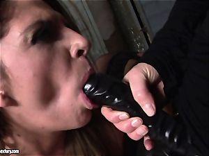 Kathia Nobili lets a steamy woman blow her strap on