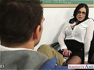 insane Kendra plumbed on her desk