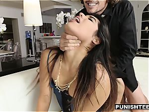 youthfull Latina assistant penalized by her rich chief