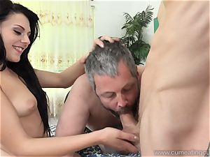 Megan Sages hubby wanks lil' shaft As She Gets pulverized