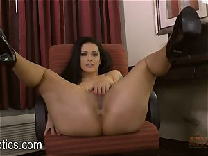 Katrina Jade bends over and gives you a flash