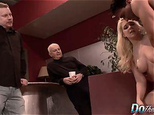 blondie wifey ass porked as Cuck observes