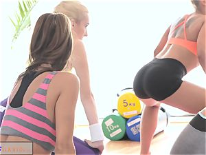 FitnessRooms teens ravage gym teacher's fat manstick